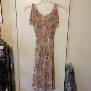 Elegant Evan Picone Floral Dress split sleeves